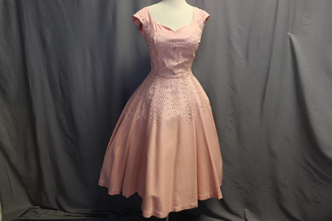 1950's Fit & Flare Pink Linen Princess Dress