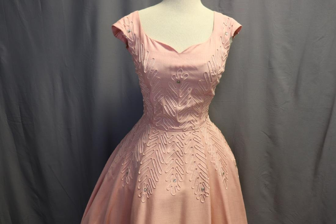 1950's Fit & Flare Pink Linen Princess Dress - 2