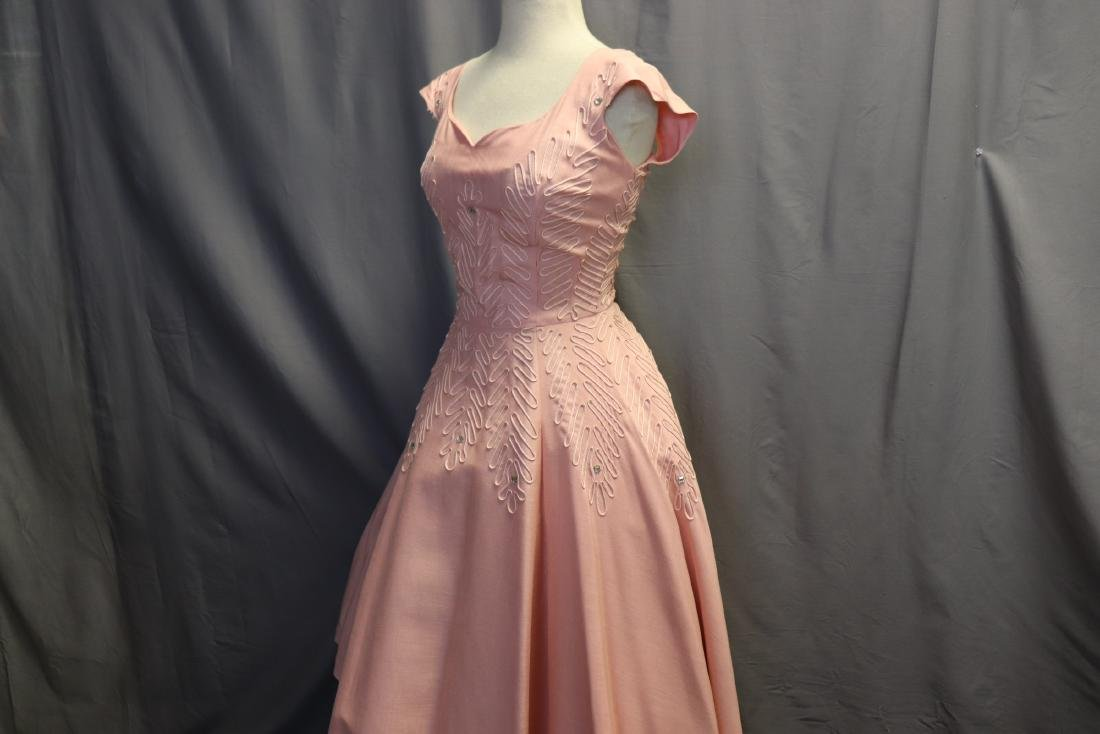 1950's Fit & Flare Pink Linen Princess Dress - 4