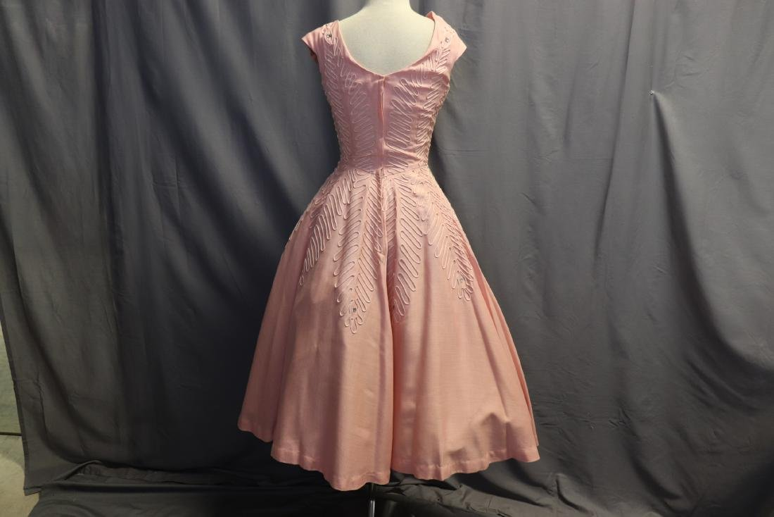 1950's Fit & Flare Pink Linen Princess Dress - 5