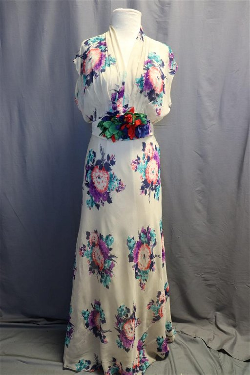 74e6233b0075 1930's Floral Chiffon Gown - Nov 25, 2018 | Denise Ryan Auctions in NH
