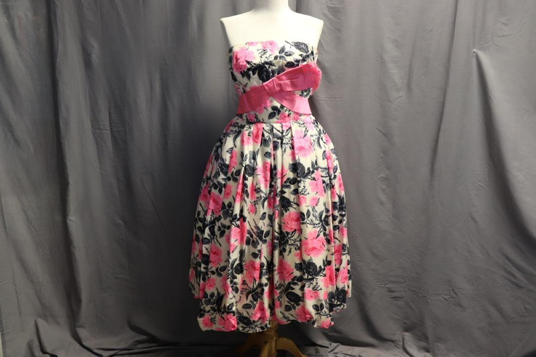 Philip Hulitar 1950's Strapless Silk Pink Rose Dress