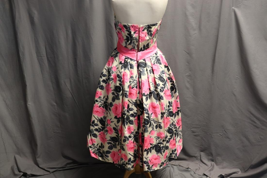 Philip Hulitar 1950's Strapless Silk Pink Rose Dress - 5