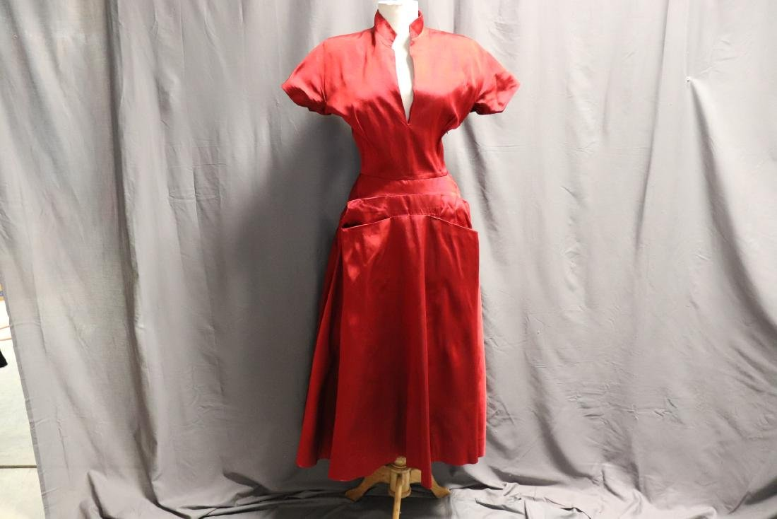 Ceil Chapman, 1940's Red Silk Cocktail Dress