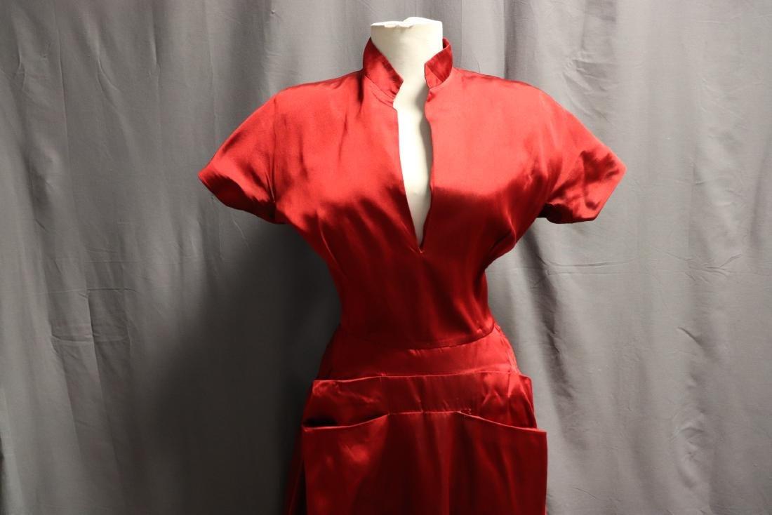 Ceil Chapman, 1940's Red Silk Cocktail Dress - 2