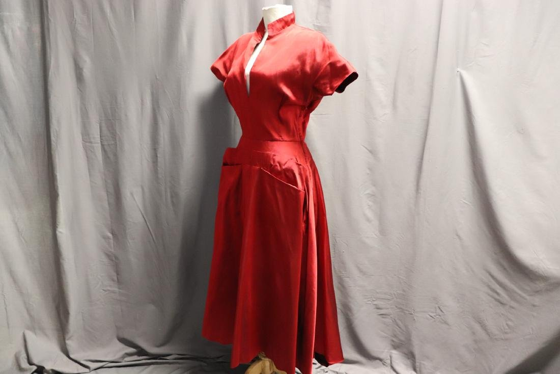 Ceil Chapman, 1940's Red Silk Cocktail Dress - 3