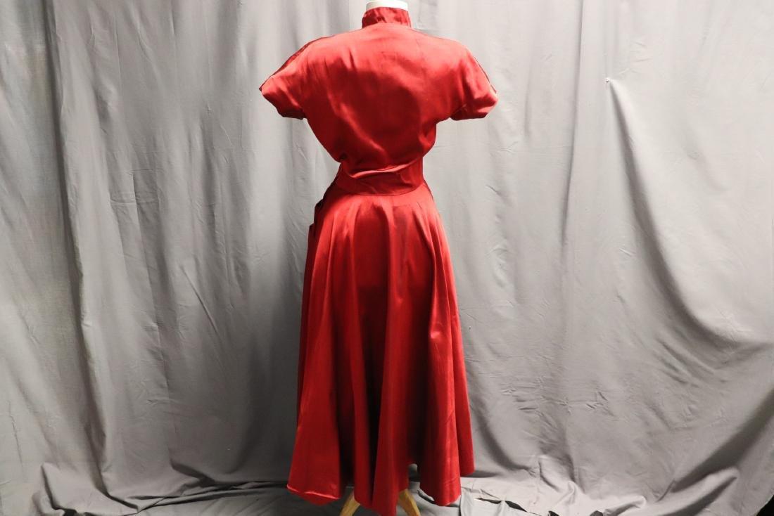 Ceil Chapman, 1940's Red Silk Cocktail Dress - 4