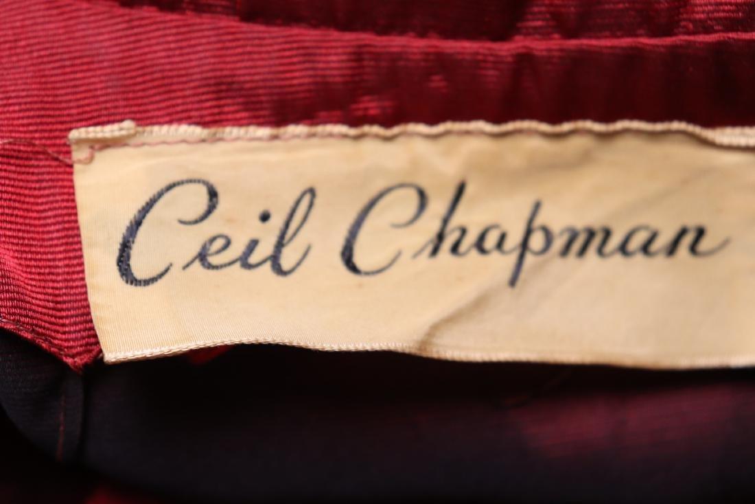 Ceil Chapman, 1940's Red Silk Cocktail Dress - 9