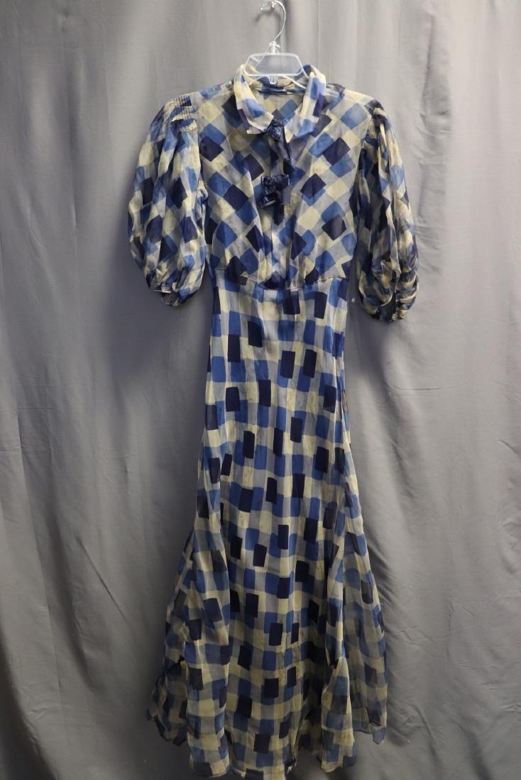 1930's Chiffon Blue Check Puff Sleeve Day Dress