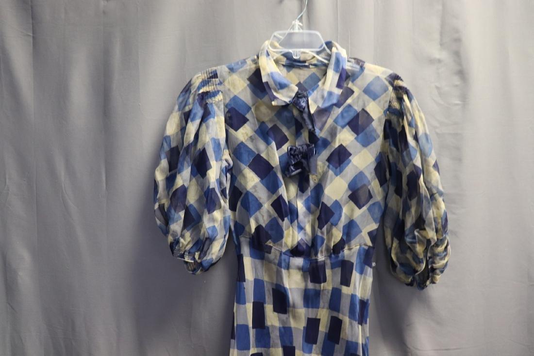 1930's Chiffon Blue Check Puff Sleeve Day Dress - 2