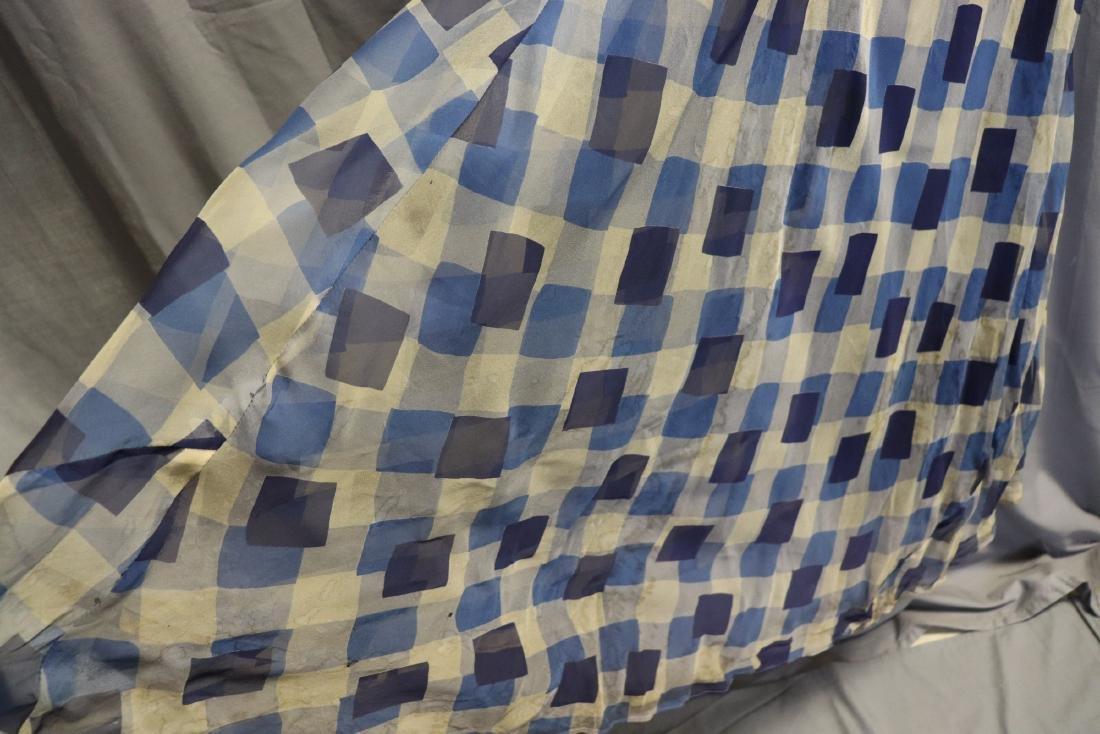 1930's Chiffon Blue Check Puff Sleeve Day Dress - 3