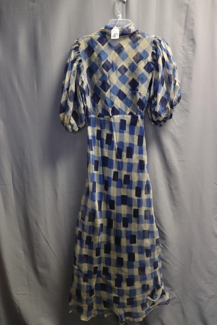 1930's Chiffon Blue Check Puff Sleeve Day Dress - 4