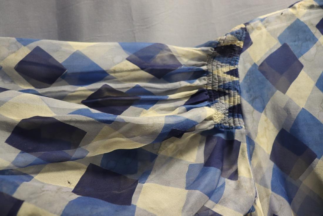1930's Chiffon Blue Check Puff Sleeve Day Dress - 5