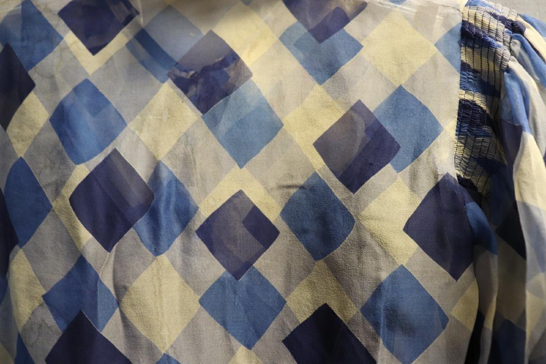 1930's Chiffon Blue Check Puff Sleeve Day Dress - 7