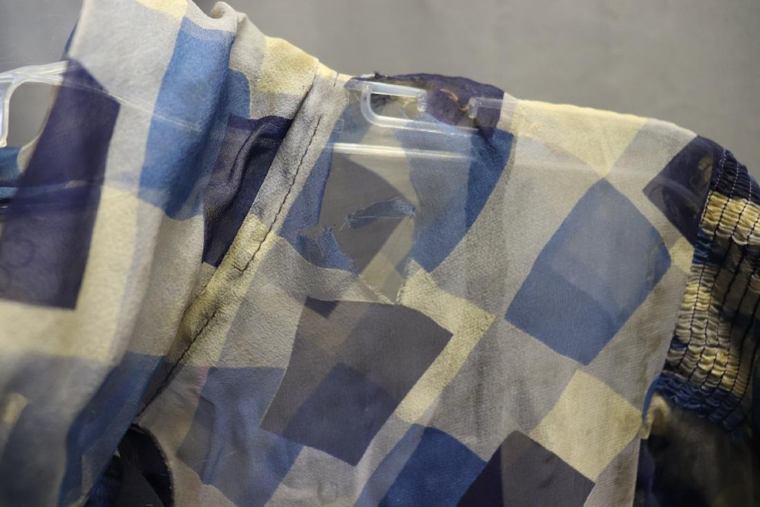 1930's Chiffon Blue Check Puff Sleeve Day Dress - 8