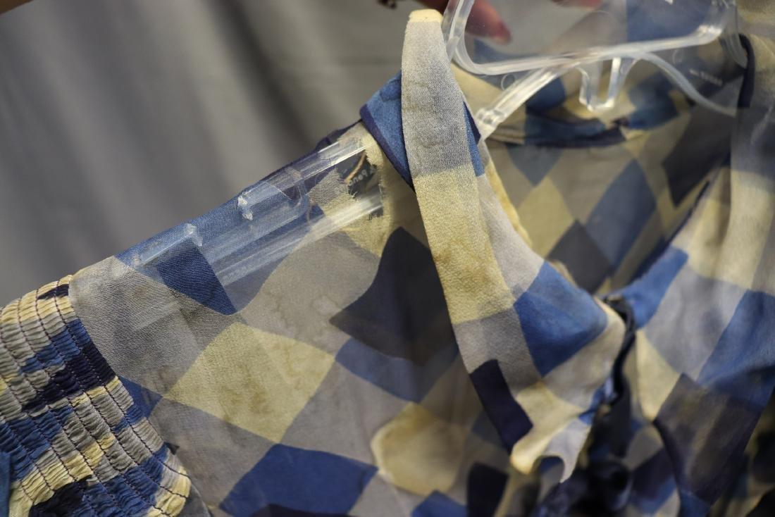 1930's Chiffon Blue Check Puff Sleeve Day Dress - 9