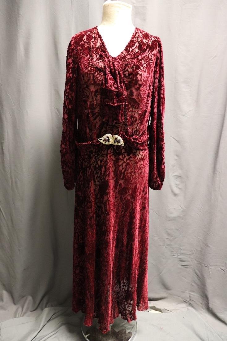 1920/30's Red Burnout Velvet Dress