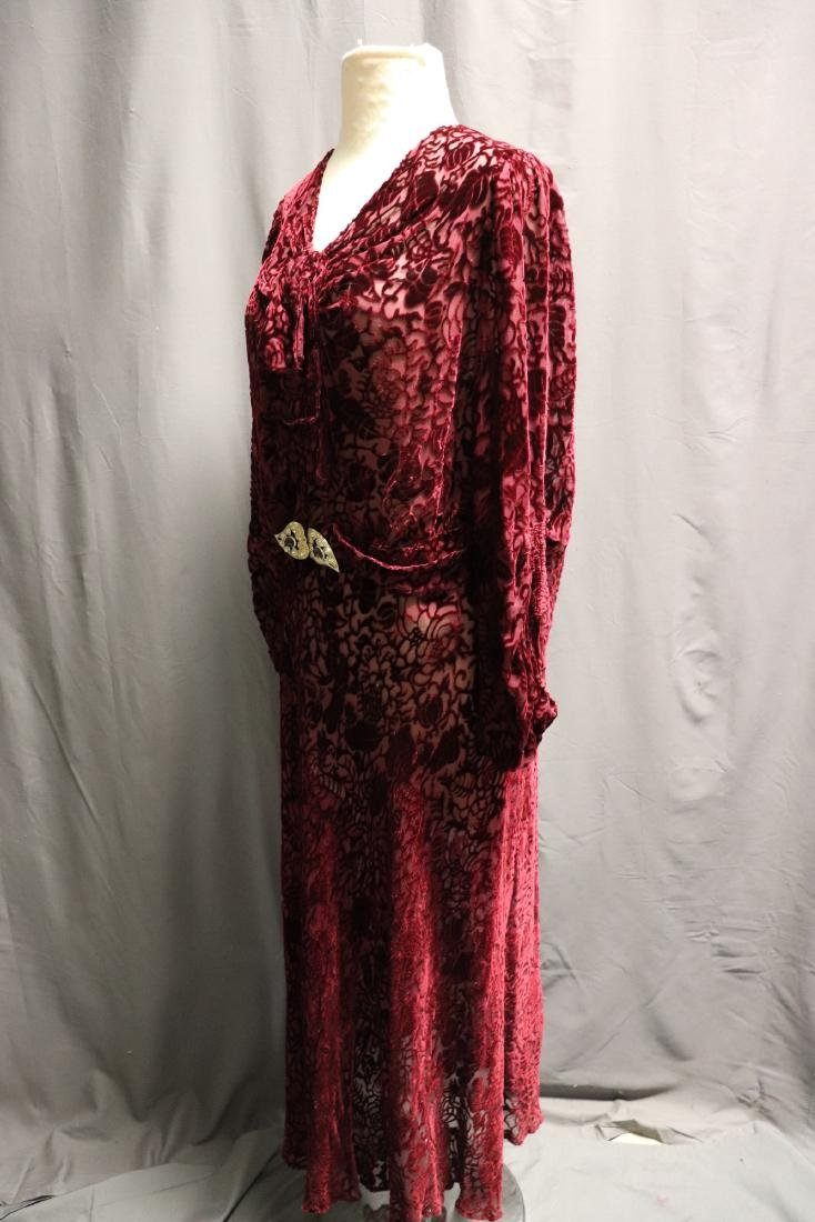 1920/30's Red Burnout Velvet Dress - 4