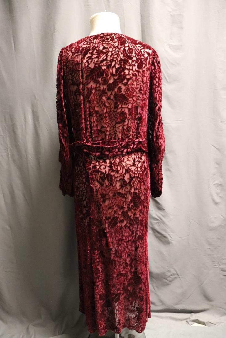 1920/30's Red Burnout Velvet Dress - 5