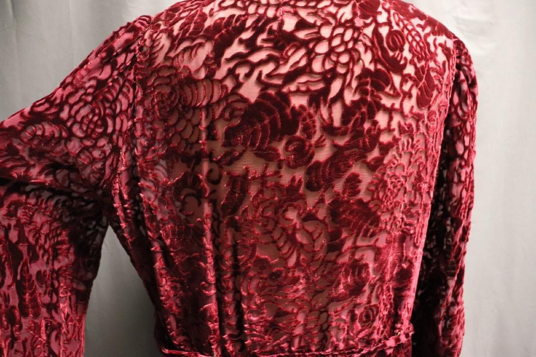 1920/30's Red Burnout Velvet Dress - 6