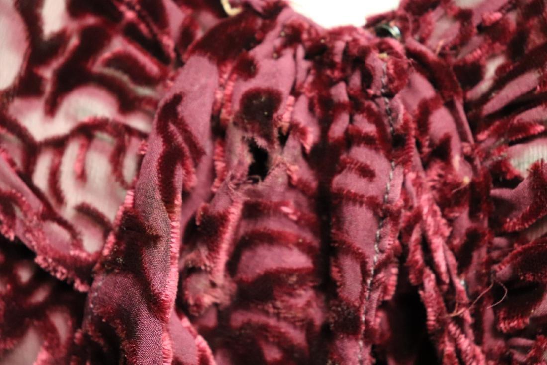 1920/30's Red Burnout Velvet Dress - 7