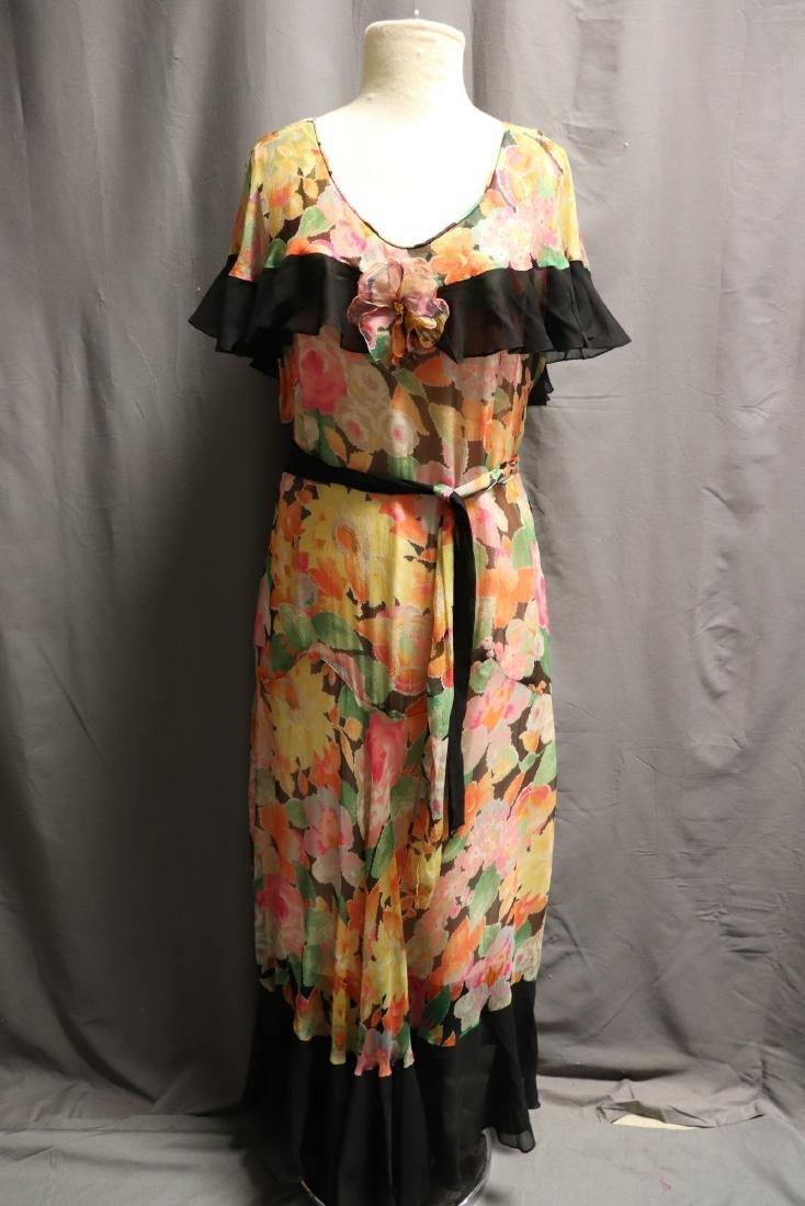 1920's Floral Silk Chiffon Dress