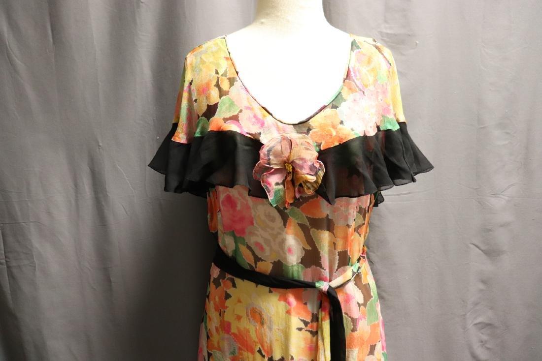 1920's Floral Silk Chiffon Dress - 2