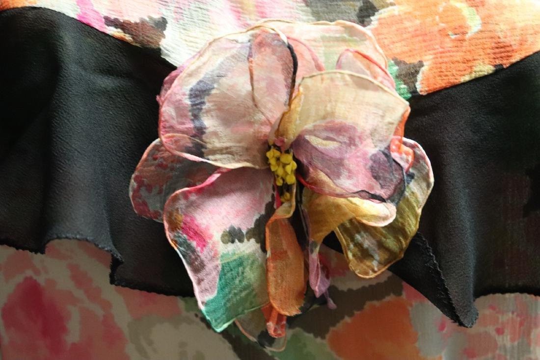 1920's Floral Silk Chiffon Dress - 3