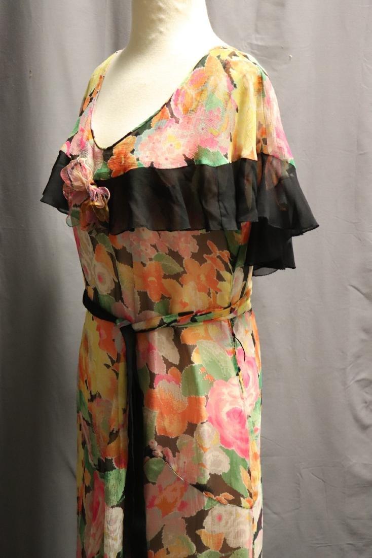 1920's Floral Silk Chiffon Dress - 4