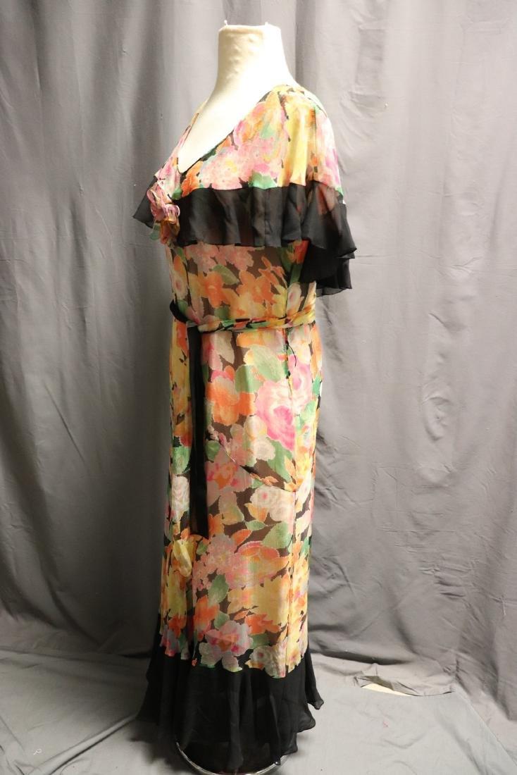 1920's Floral Silk Chiffon Dress - 5