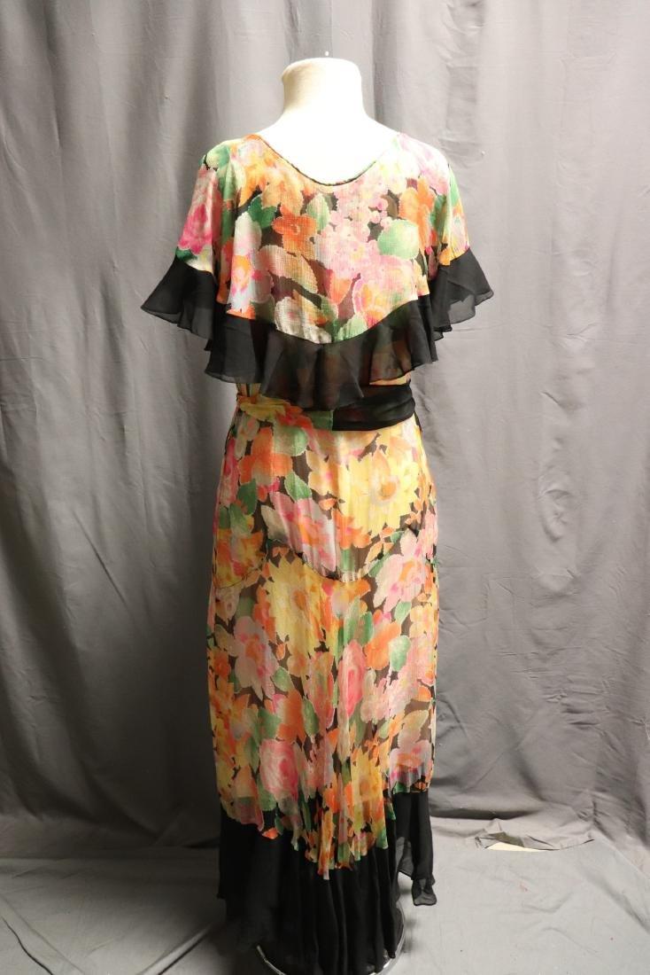 1920's Floral Silk Chiffon Dress - 6