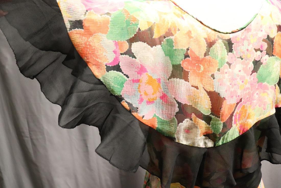 1920's Floral Silk Chiffon Dress - 7