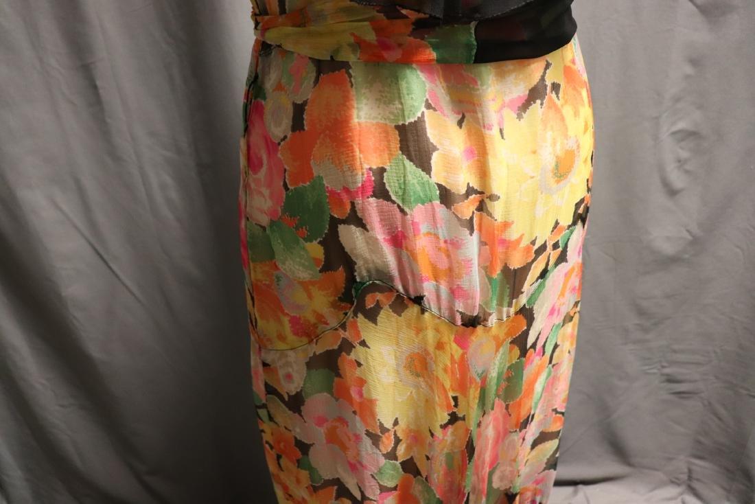 1920's Floral Silk Chiffon Dress - 8