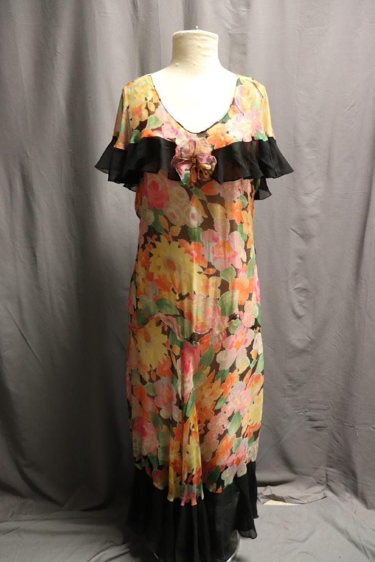 1920's Floral Silk Chiffon Dress - 9
