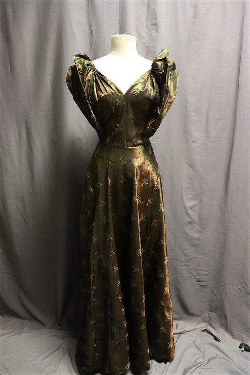 96976ec4d40 1930's Metallic Taffeta Brocade Couture Dress - Nov 25, 2018 ...
