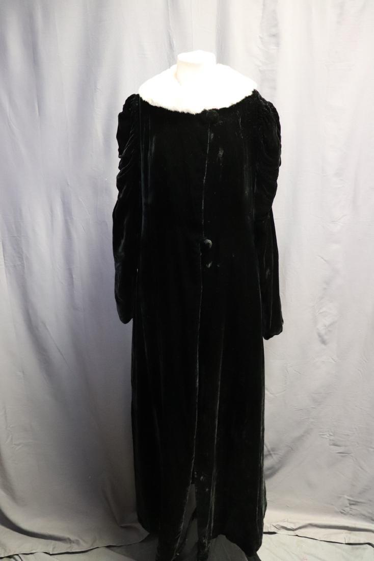 1930's Silk Velvet Opera Coat with Rabbit Fur