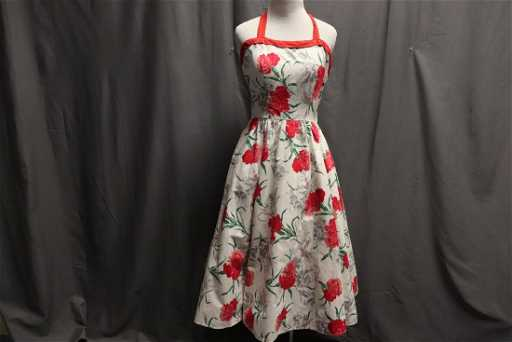 499bb429d98b 1950's Cotton Fit & Flare Halter Dress by Pat Preruo