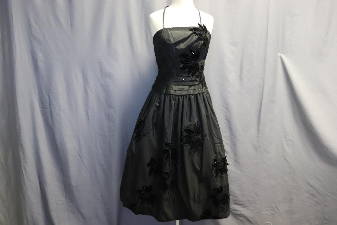Ruben Parnis 1950's Black Princess Dress with Velvet