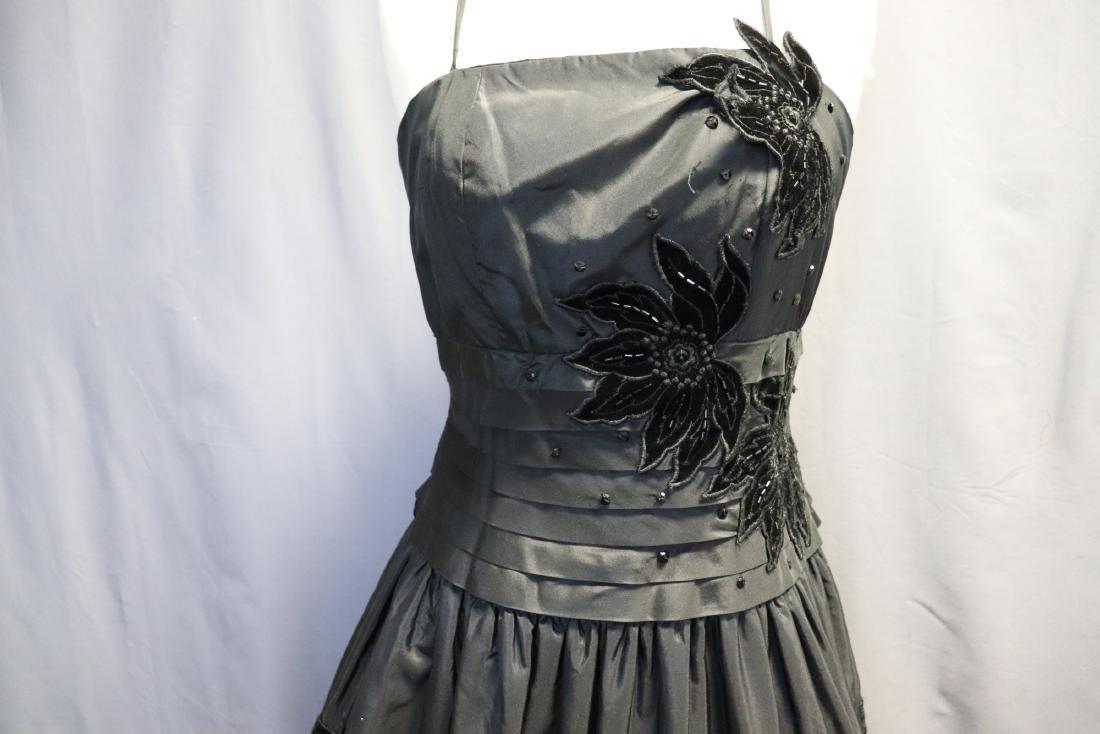 Ruben Parnis 1950's Black Princess Dress with Velvet - 2