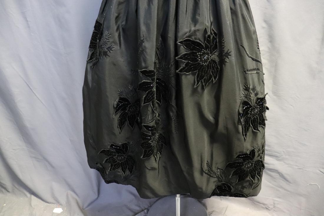 Ruben Parnis 1950's Black Princess Dress with Velvet - 3