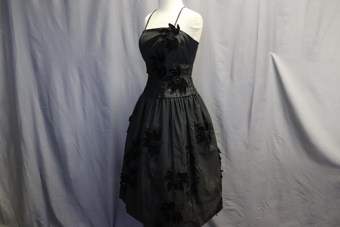 Ruben Parnis 1950's Black Princess Dress with Velvet - 4