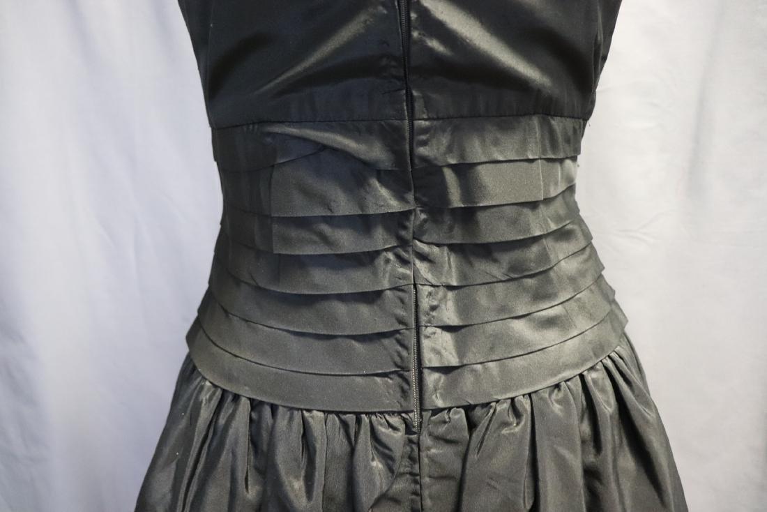 Ruben Parnis 1950's Black Princess Dress with Velvet - 7