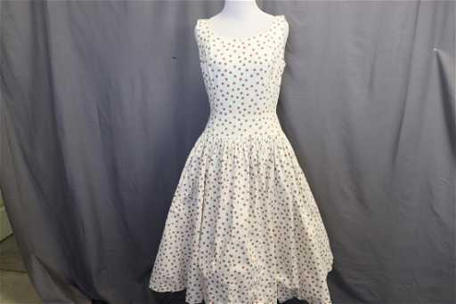 bcb9e8248f81 1950's Cotton Polka-Dot Fit & Flare Dress