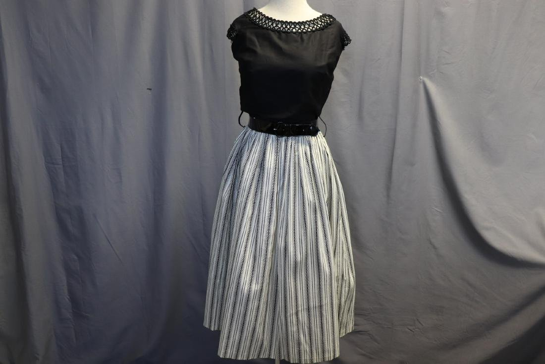 1950's Old Store Stock Black & White Cotton Dress
