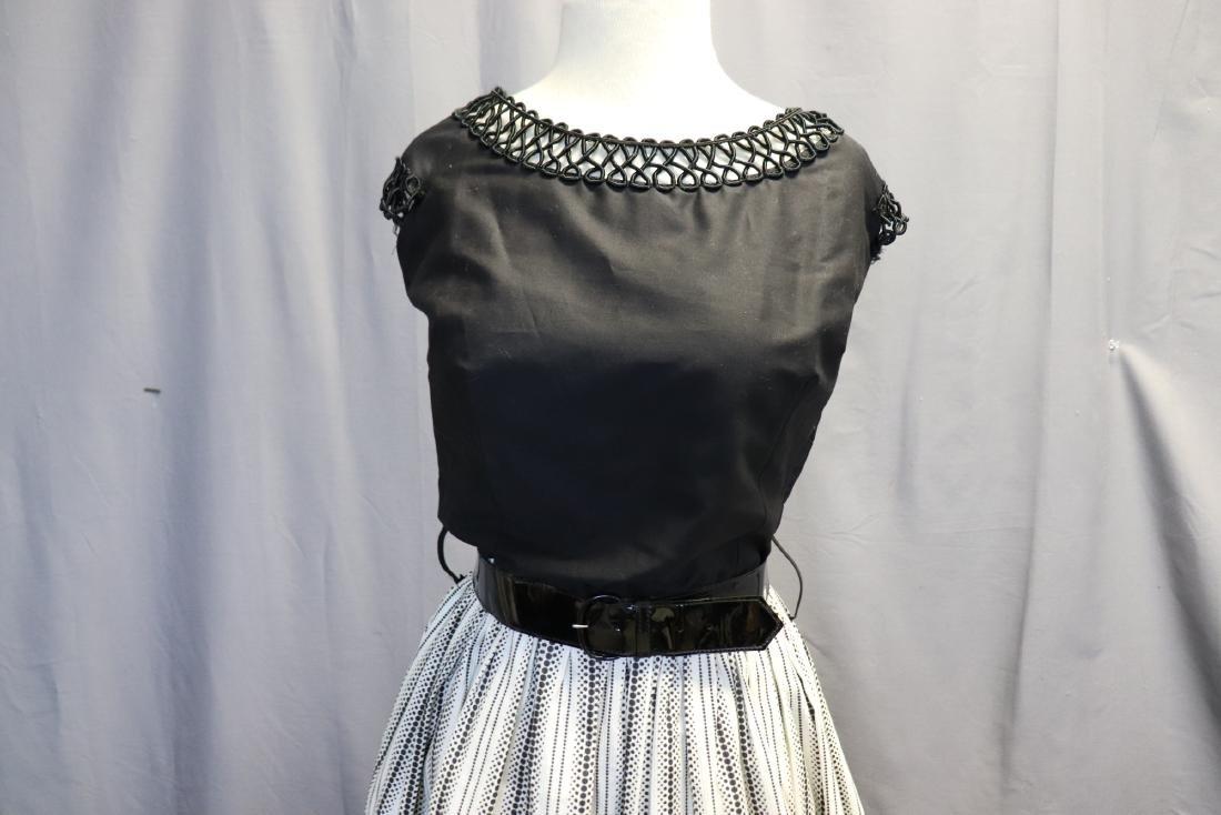 1950's Old Store Stock Black & White Cotton Dress - 2