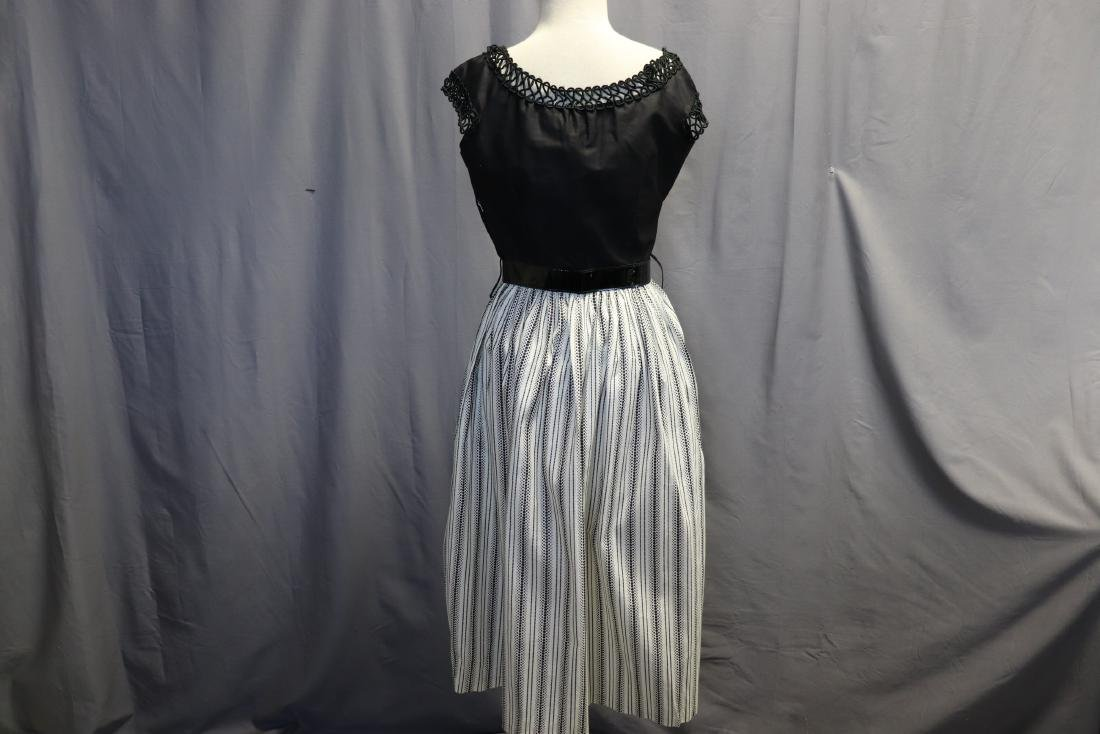 1950's Old Store Stock Black & White Cotton Dress - 4