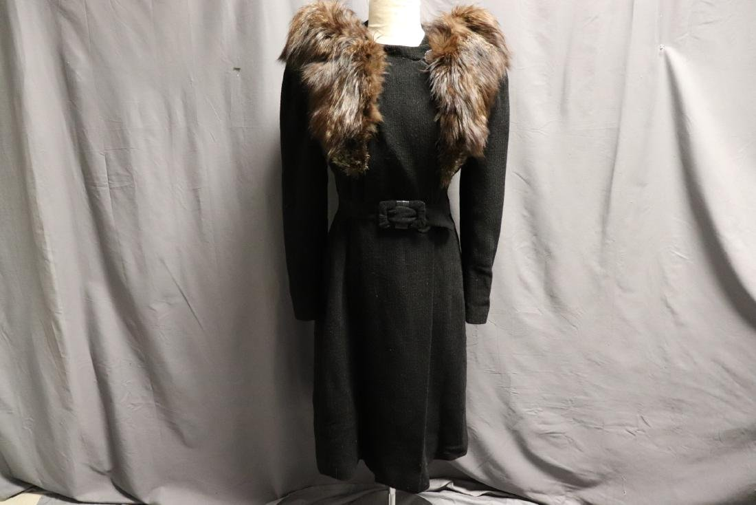 1940's Wool Knit Sweater Coat with Fox Fur