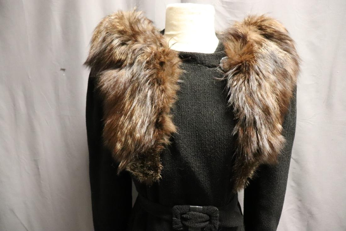 1940's Wool Knit Sweater Coat with Fox Fur - 2