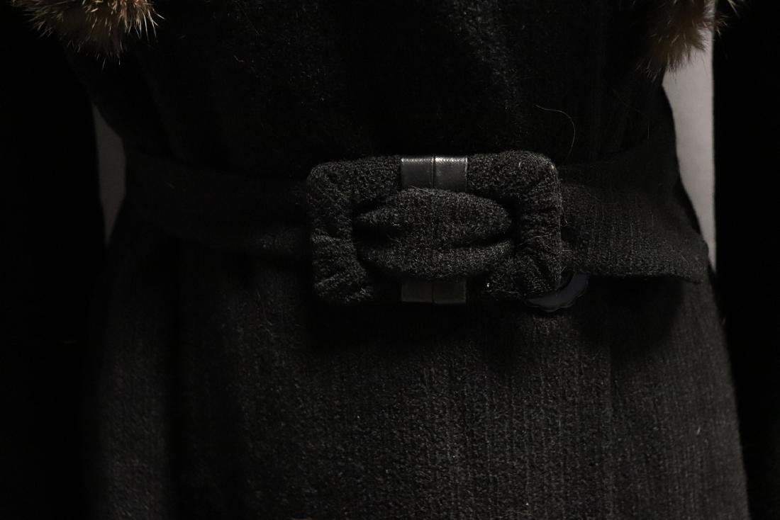 1940's Wool Knit Sweater Coat with Fox Fur - 4
