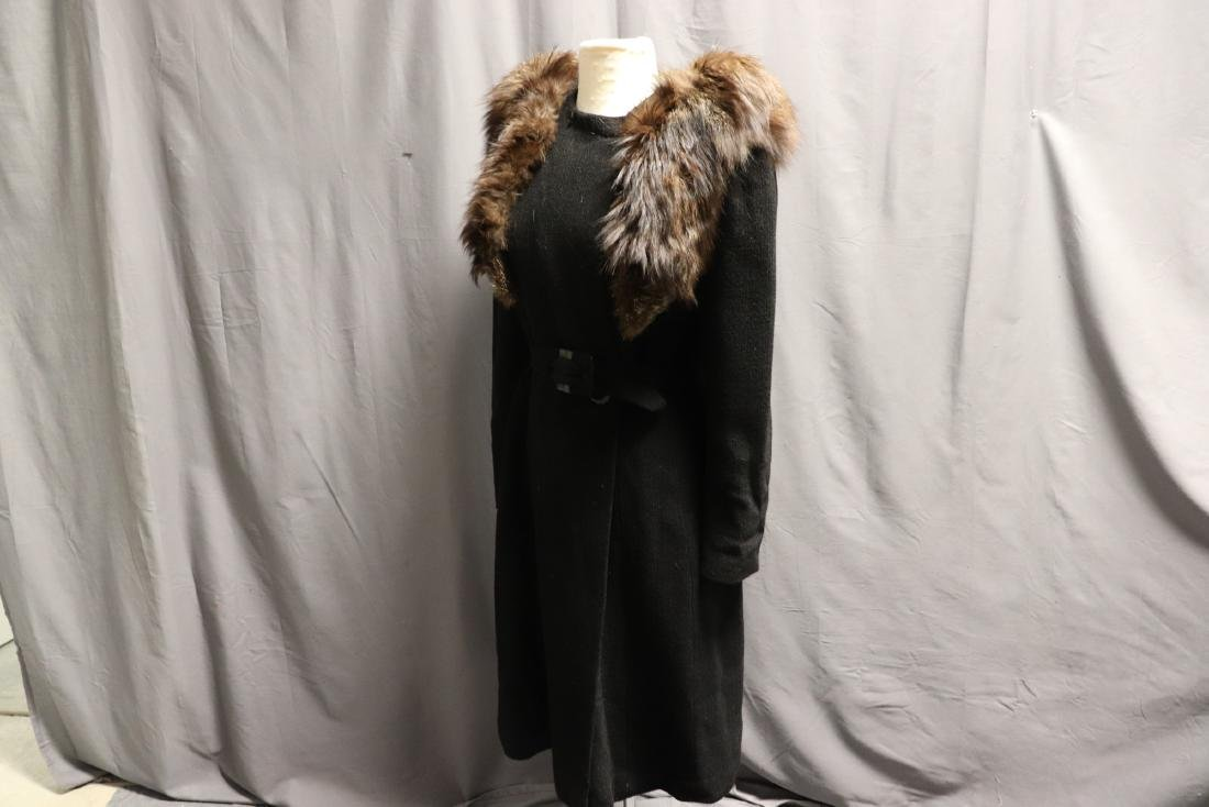 1940's Wool Knit Sweater Coat with Fox Fur - 6